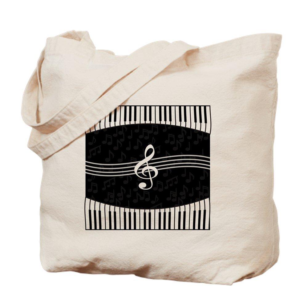 CafePress – スタイリッシュなデザイナーピアノと音楽ノート – ナチュラルキャンバストートバッグ、布ショッピングバッグ B06WLNHPXM