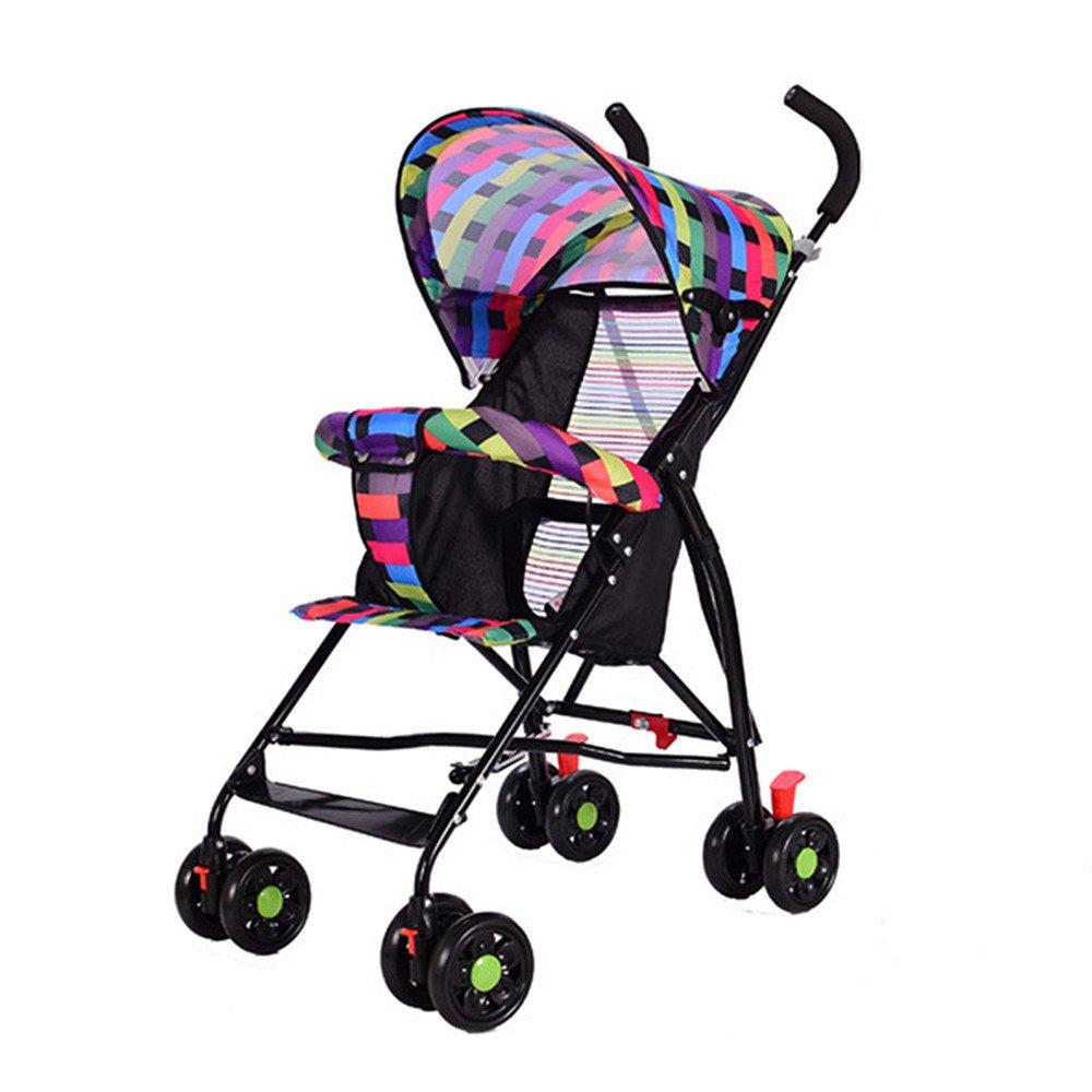 Ultra Lightweight Stroller Pushchair Folding Portable Children's Baby Summer Sunshade Cover Pram kids four-wheeled Cart Carrycot Buggy (Rainbow3)