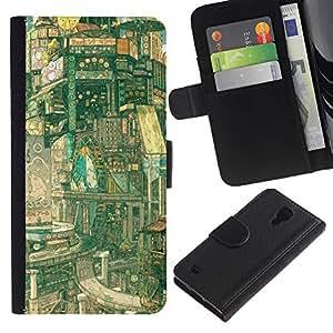 JackGot ( Fantasy Sci Fi Città ) Samsung Galaxy S4 IV I9500 la tarjeta de Crédito Slots PU Funda de cuero Monedero caso cubierta de piel