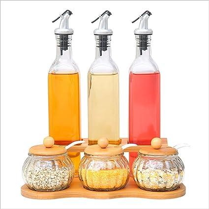 houyuanshun Juego De Caja De Condimentos Tanque De Condimentos De Vidrio Suministros De Cocina Creativos Tanque