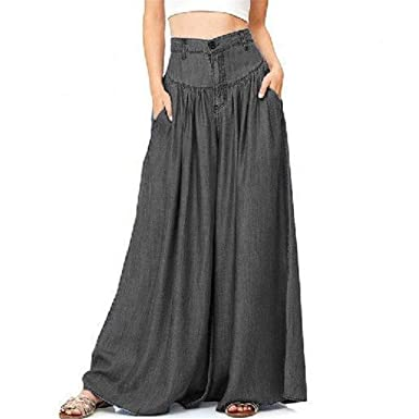 bf1b8c151d682 Fold Pleated 5XL Plus Size Palazzo Pants Linen Cotton High Waist Wide Leg  Pants at Amazon Women s Clothing store