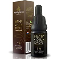 Hemp Oil Drops 5 % , Organic Full Spectrum Co2 Extract, Great for Pain, Anxiety & Stress Relief [ 10ml ] Best from The Netherlands