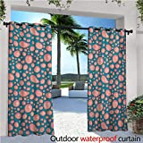 homehot Pale Pink Indoor/Outdoor Single Panel Print Window Curtain Drops and Round Splash of Bubble Gum on Blue Background in Cartoon Style Silver Grommet Top Drape W120 x L84 Petrol Blue Coral
