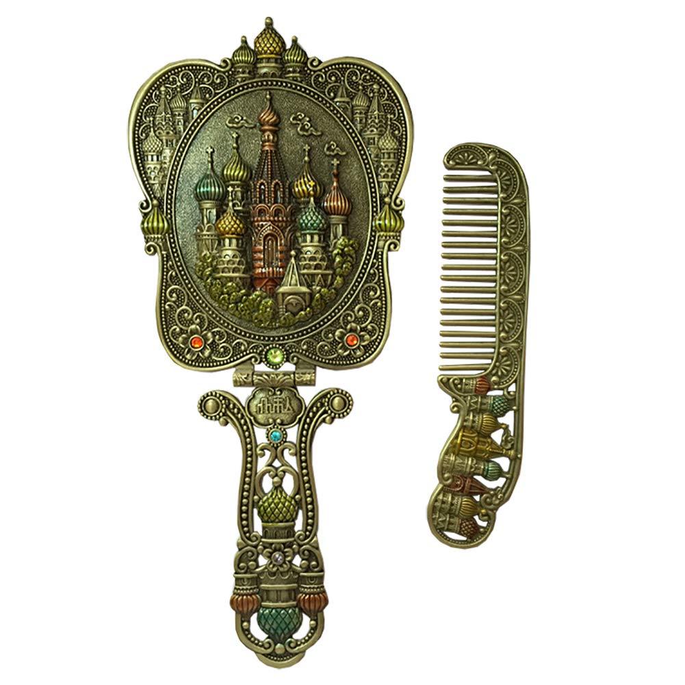 Nerien Vintage Castle Metal Hand Mirror Antique Russian Style Handheld Vanity Mirror Comb Set Antique Pewter