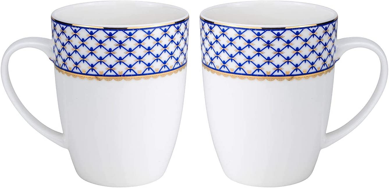 Premium Bone China Royalty Porcelain 2-pc Mug Set Cobalt Blue for Tea or Coffee