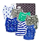 Nautical Baby Cloth Pocket Diapers 7 Pack, 7 Bamboo Inserts, 1 Wet Bag by Nora's Nursery