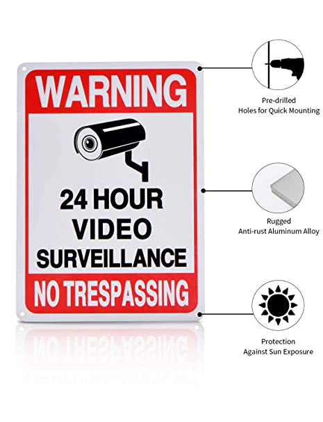 24 Hour Video Surveillance Signs BNT 2-Pack No Trespassing Signs Private Property UV Printed Rust Free Aluminum 10 x 7 in Camera Sign for Home Business