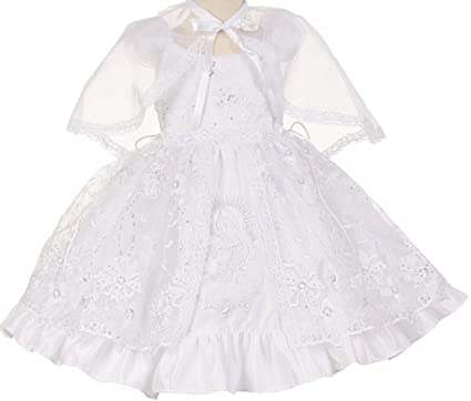 f6d287c0180 Little Baby Girls Virgin Mary Embroidered Cape Baptism Christening Dresses  White 0