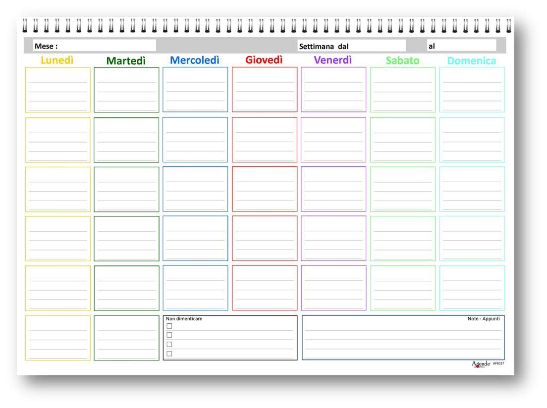 agenda da tavolo mensile 25 fogli da 160 gr Planning mensile 21x30 COLORS senza data SPIRALATO