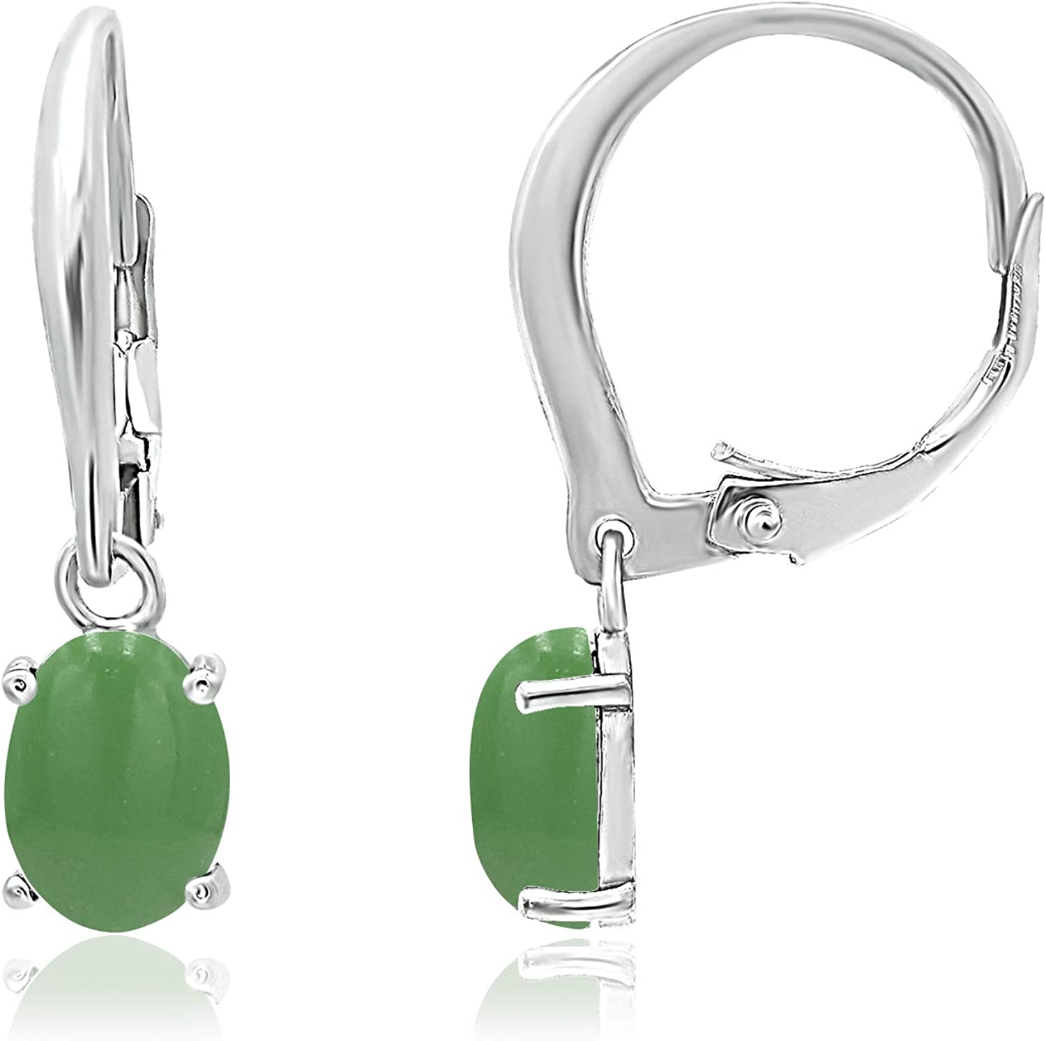925 Sterling Silver 8x6mm Oval Shape Genuine or Simulated Gemstone Leverback Drop Dangle Earrings (Prong Setting)