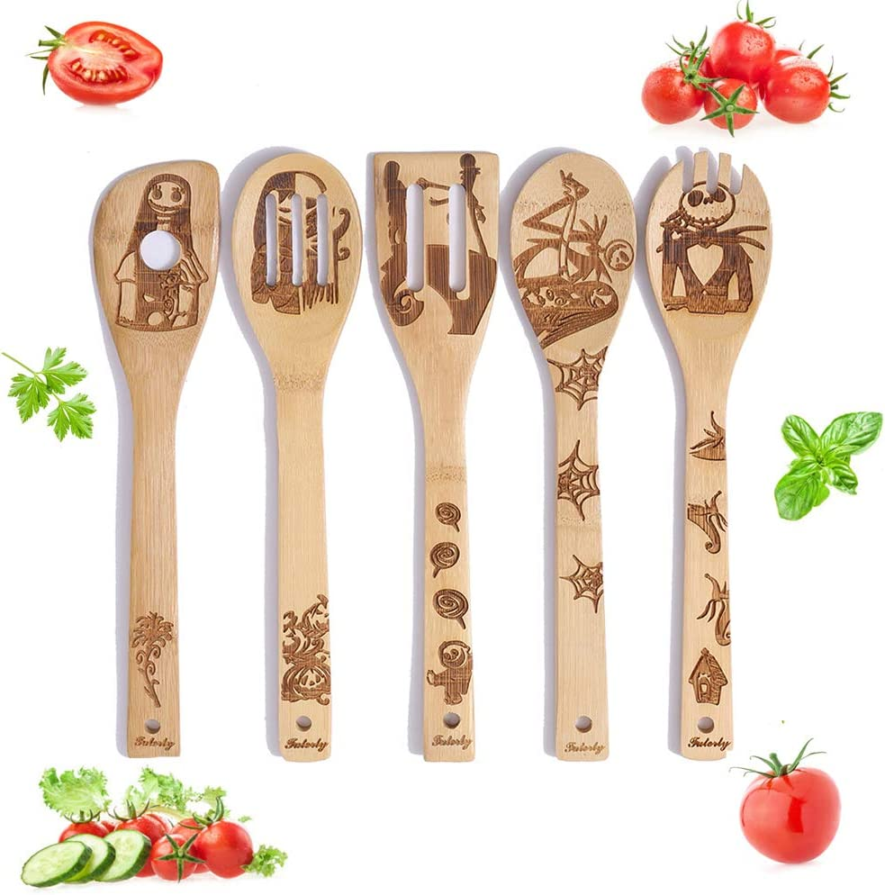 Best Gifts For Family - 5 Piece Healthy Cooking Utensils Set - Nightermare Befor Christmas Wooden Slotted Spoons