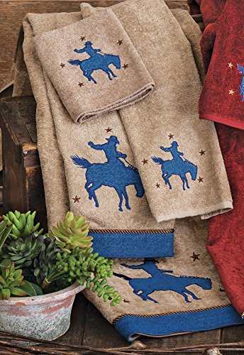 Denim Cowboy Earth Western Bath Towel - Southwestern - Towel Rider Bath Western