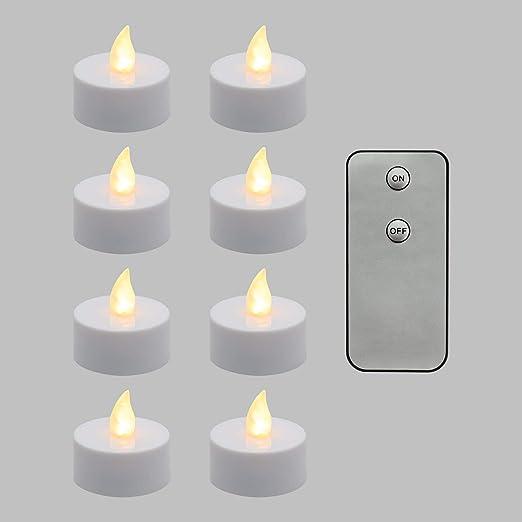LuminalPark Pack 8 Velas LED TeaLight, LED luz cálida, Efecto Llama, Mando Control, Luces de Navidad a Pilas: Luminalpark: Amazon.es: Hogar