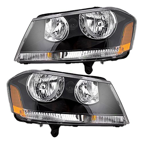 (Driver and Passenger Headlights Headlamps with Black Bezels Replacement for Dodge 5303745AD 5303744AD)
