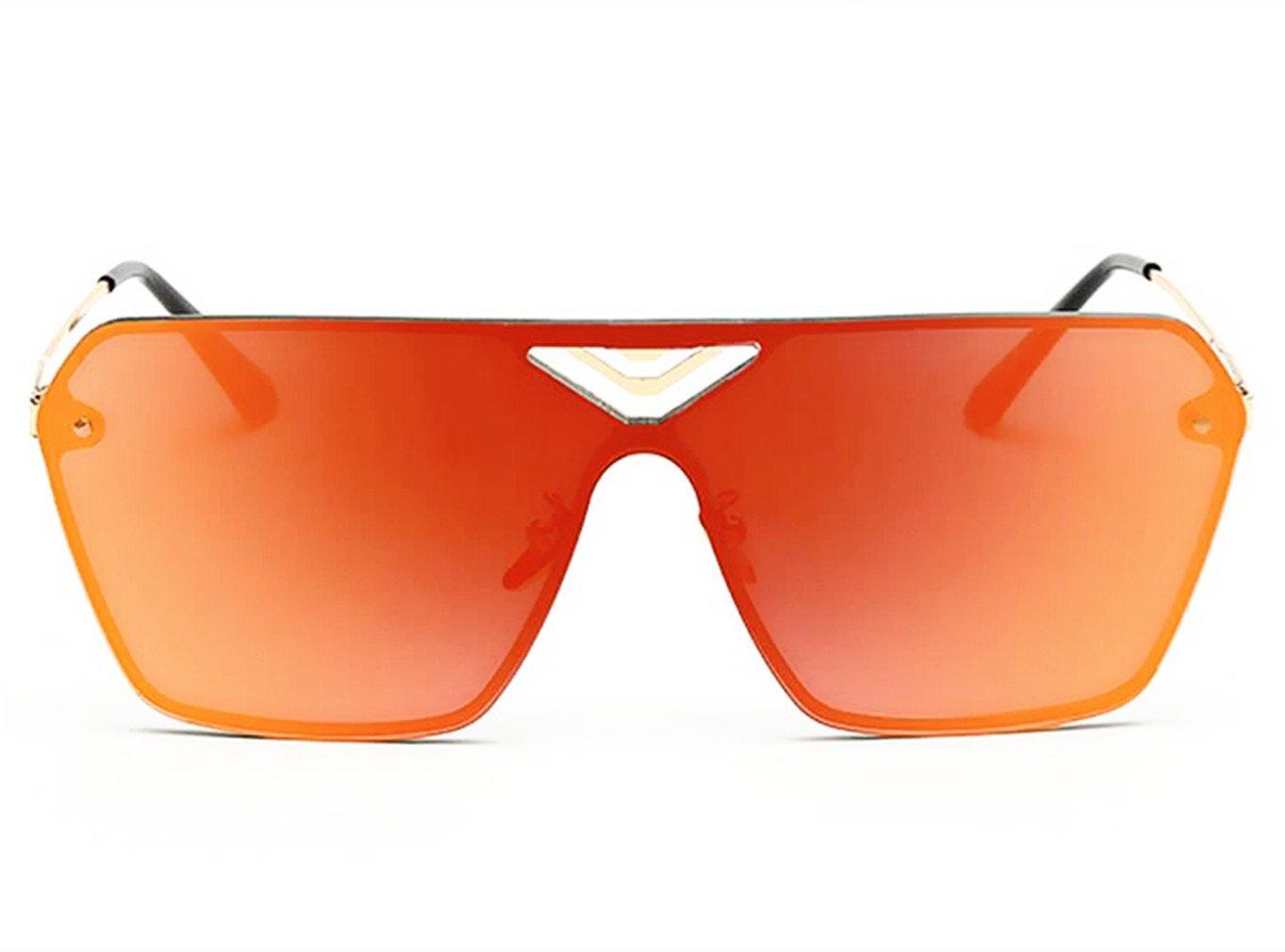 Linshe UV400 Unisex Windundurchlässige Oversize Sonnenbrille mit großen Rahmen (65mm) (silber Brille Rahmen + lichtblau Brillenglas) 9Mmbp