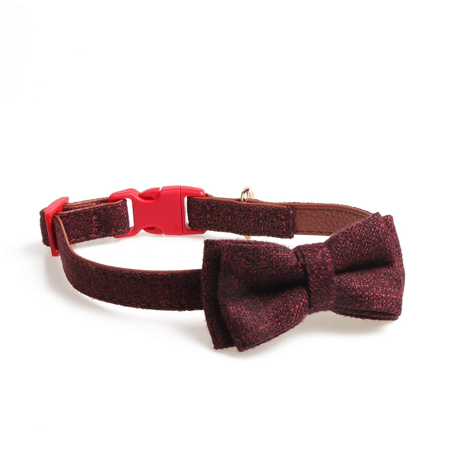 Red Brown 2.5×3655cm Lindou Pet collar Pet collar safety buckle bow decorative dog collar,Wine red,2.0×3045cm (color   Red Brown 2.5×3655cm)