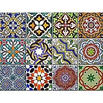 This Item Backsplash Tile Stickers 24 Pc Set Authentic Traditional Talavera Tiles Stickers Bathroom Kitchen Tile Decals Easy To Apply Just Peel And Stick