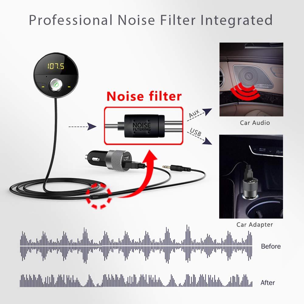 DEEWAZ Bluetooth Receiver Car Kit Built-in Noise Filter 3.5mm Jack Bluetooth Aux FM Transmitter Hands-Free Speaker Dual Usb Car Adapter Wireless Radio Audio & 3M Magnetic Mounts Base (Silver) by DEEWAZ (Image #4)
