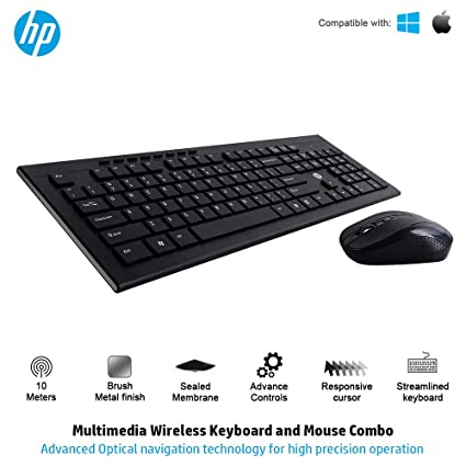 6cff1886b56 Amazon.in: Buy HP Multimedia Slim Wireless Keyboard & Mouse Combo (4SC12PA) Online  at Low Prices in India | HP Reviews & Ratings