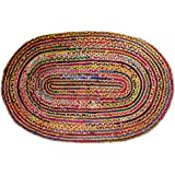 Cotton Craft - Hand Woven Reversible Jute & Cotton Multi Chindi Braid Rug - 2 x 3 Feet Oval - This Rug is made from multi color re-cycled yarns, actual product may vary in color from the image shown