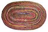 Cotton Craft - 2x3 Feet Oval Rag Rug - Jute & Cotton Multi Chindi Braid Rug, Hand Woven & Reversible - Handwoven from Multi-color Vibrant Fabric Rags