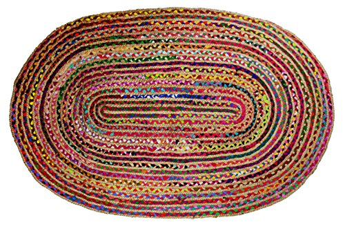 Cotton Craft - Hand Woven Reversible Jute & Cotton Multi Chindi Braid Rug - 3 x 5 Feet Oval - This Rug is made from multi color re-cycled yarns, actual product may vary in color from the image shown