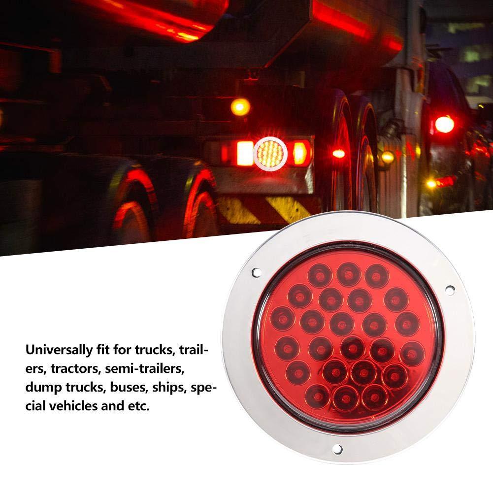 EBTOOLS Spia per auto Spia posteriore a LED Fanale posteriore a luce rotonda con 24 LED Rimorchio per camion Segnale di direzione Freno posteriore fanalino posteriore bianco