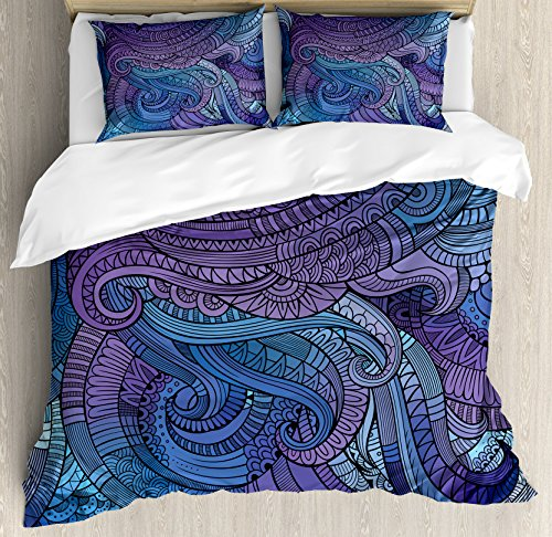 Ambesonne Abstract Duvet Cover Set Queen Size, Ocean Inspired Graphic Paisley Swirled Hand Drawn Artwork Print, Decorative 3 Piece Bedding Set with 2 Pillow Shams, Purple Blue