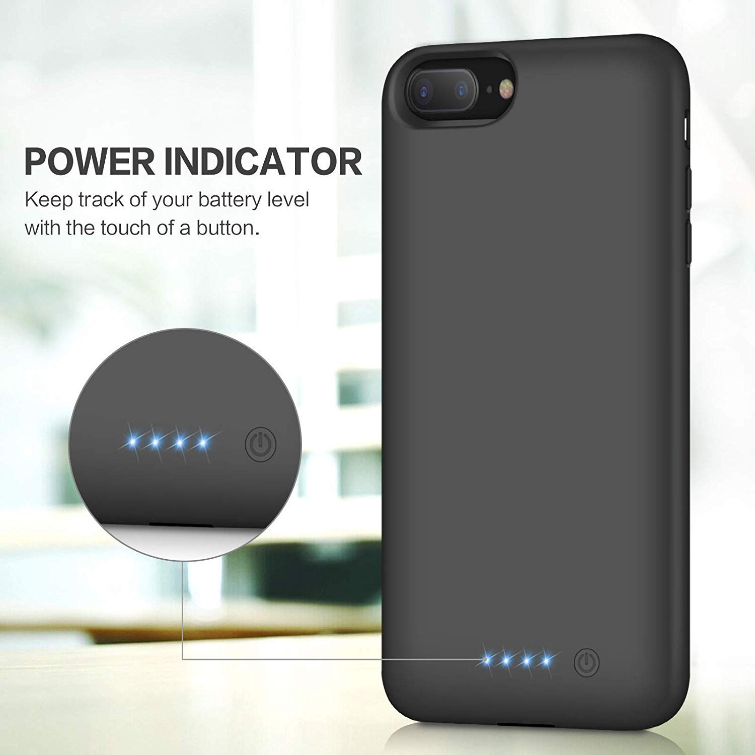 Battery Case for iPhone 8 Plus/7 Plus, [8500mAh] Xooparc Protective Portable Charging Case Rechargeable Extended Battery Pack for Apple iPhone 8 Plus&7 Plus (5.5') Backup Power Bank Cover - Black by Xooparc (Image #5)