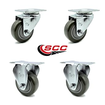 Pack of 4 Swivel Caster Wheels Brake Casters Furniture Casters,can Carry 300lb,Universal Caster,Square Tube Special Replacement Casters,Plastic Durable