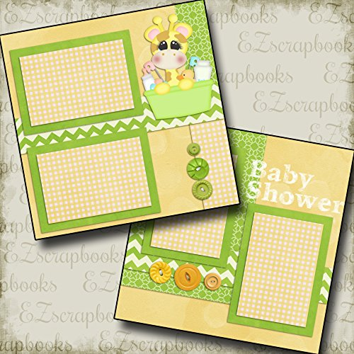BABY SHOWER - Premade Scrapbook Pages - EZ Layout 47 (Baby Shower Scrapbook Pages)