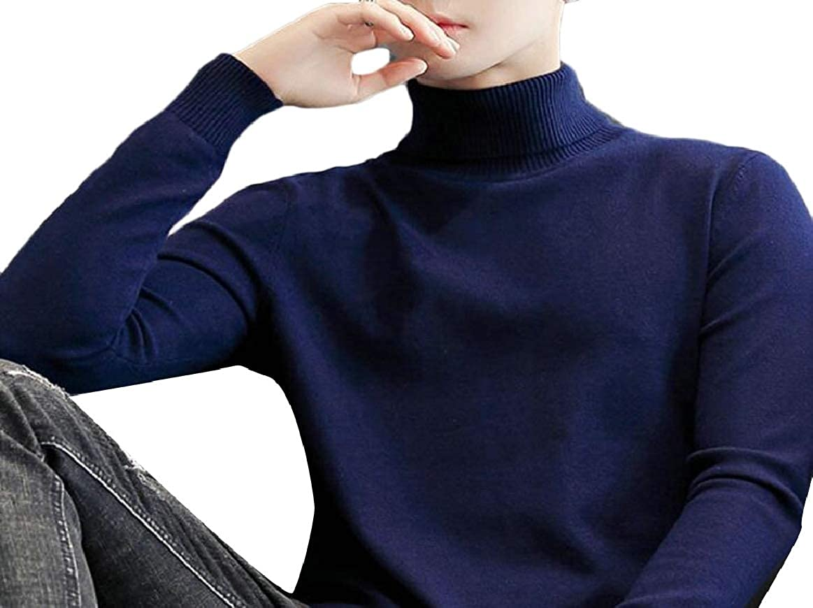 pujingge Mens Basic Slim Knitted Pullover Long Sleeve High Neck Sweaters