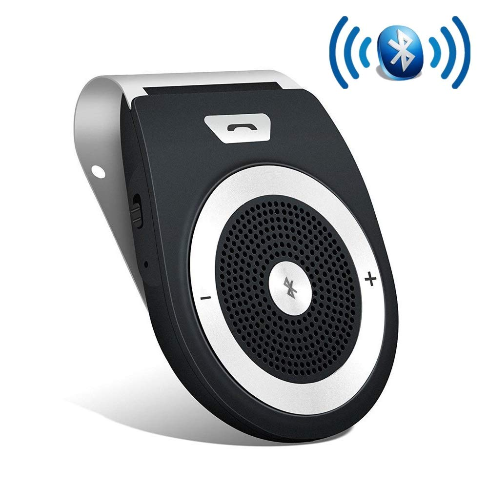 Aigital Bluetooth Car Kit Speakerphone Wireless in-Car Speaker Motion AUTO Power ON Sun Visor Audio Receiver Adapter HD Sound for Handsfree Calling Music Player GPS Navigation - Black