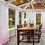 Macochico 150Wx 102L Gradient Ombre Sheers Outdoor Indoor Extra Wide Pink Tulle Curtains Panels Privacy Protection Dustproof for Patio Garden Gazebo Pergola Bedroom Living Room (1 Panel)