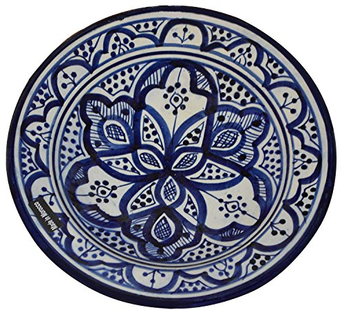 (Ceramic Plates Moroccan Handmade Serving, Wall Hanging, Exquisite Colors Decorative Large 12 inches Diameter)