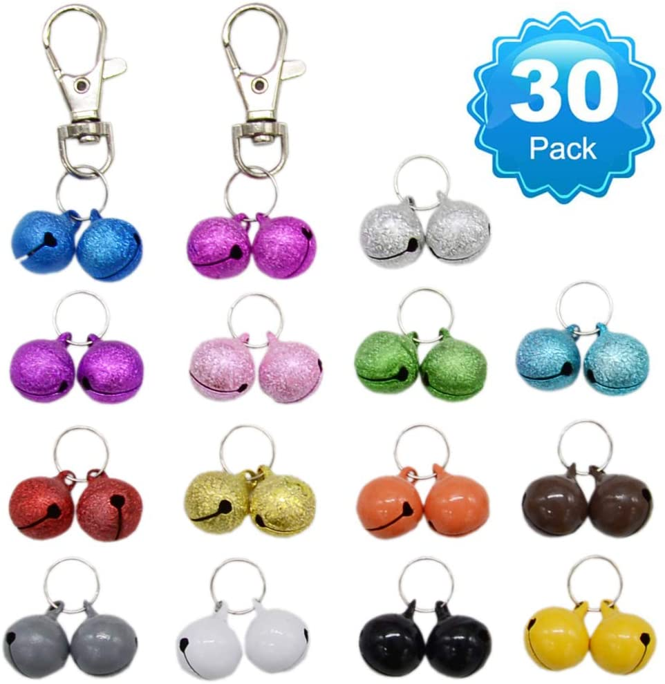 30 Pack Pet Cat Collar Bells, Strong Loud Dog Collar Bells for Potty Training, Colourful Cat Charm Bells for Collars Necklace Pendant Frosted + Candy Colors