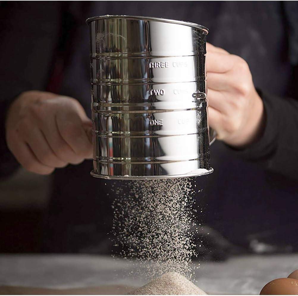 Setaccio per Farina in Acciaio Inossidabile con Scala di Misurazione Filtro per Farina Manuale Shaker Semiautomatico Setaccio per Tazza Manovella per Farina Setaccio HEITIGN Setaccio per Farina
