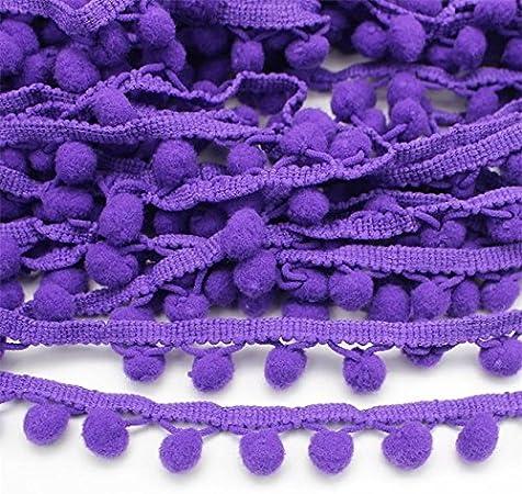 Yalulu 20 Yards Mini Triangle Pom Pom Trim Ball Fringe Ribbon Tassel DIY Sewing Lace for Clothing Curtain Pillow Accessory Decoration Purple