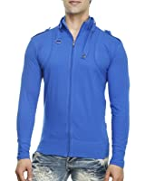 Tees Collection Men's Full Zip Buckle Neck Full Sleeve Blue Colour T-shirt