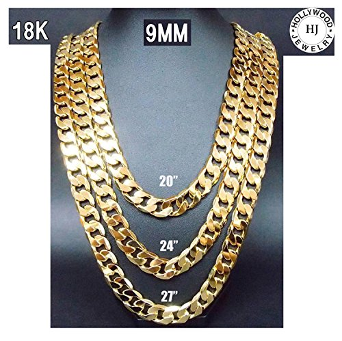Gold Chain Necklace 9.1MM 18K Diamond Cut Smooth Cuban Link with No (Plated Diamond Cut Rope Chain)
