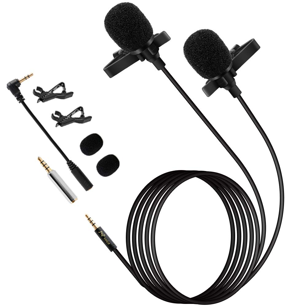 Premium 196'' Dual-head Lavalier Microphone, Professional Lapel Clip-on Omnidirectional Condenser Mic for Apple iPhone,Android,PC,Recording Youtube,Interview,Video Conference,Podcast by PoP voice