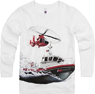 product image for Shirts That Go Little Boys' Long Sleeve Boat & Helicopter T-Shirt