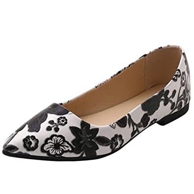 d334230be Mashiaoyi Women's Pointed-Toe Flat Slip-on Floral Ballet Flats US 4 Black