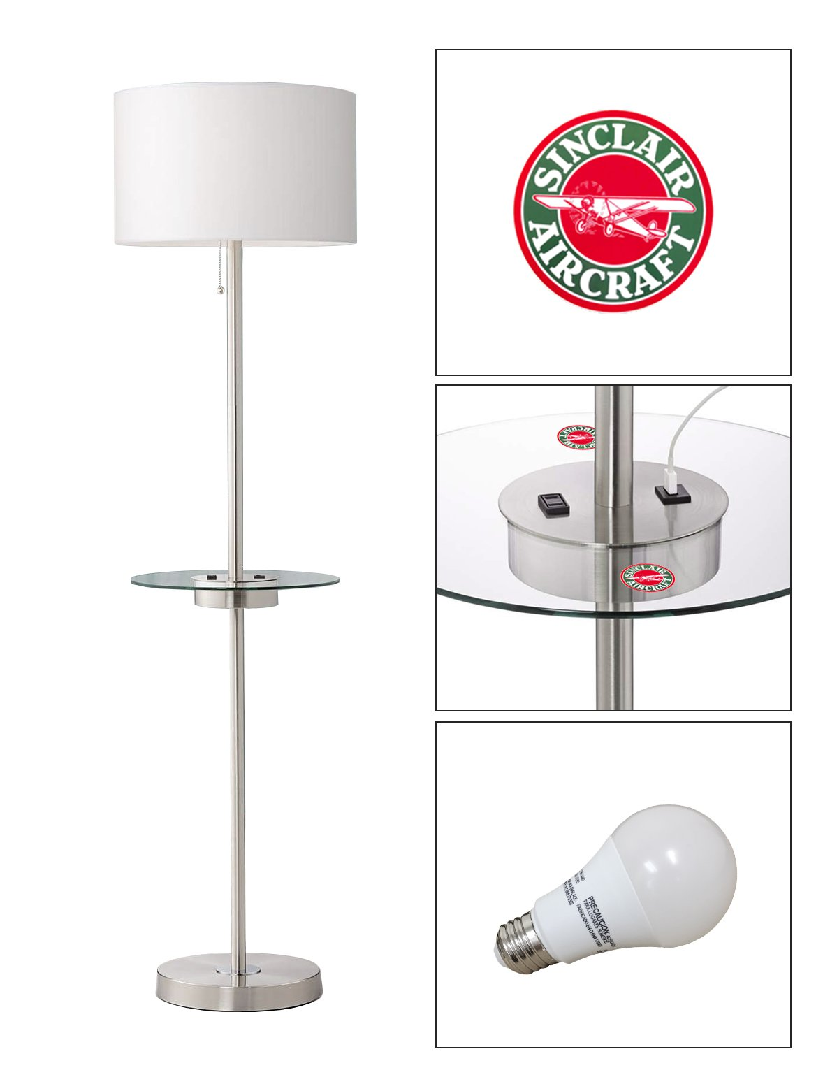 Satin Steel Floor Lamp with Table, USB, Electrical Outlet Featuring Your Favorite Vintage Gas Themed Logo - FREE LED BULB INCLUDED (Sinclair Aircraft)
