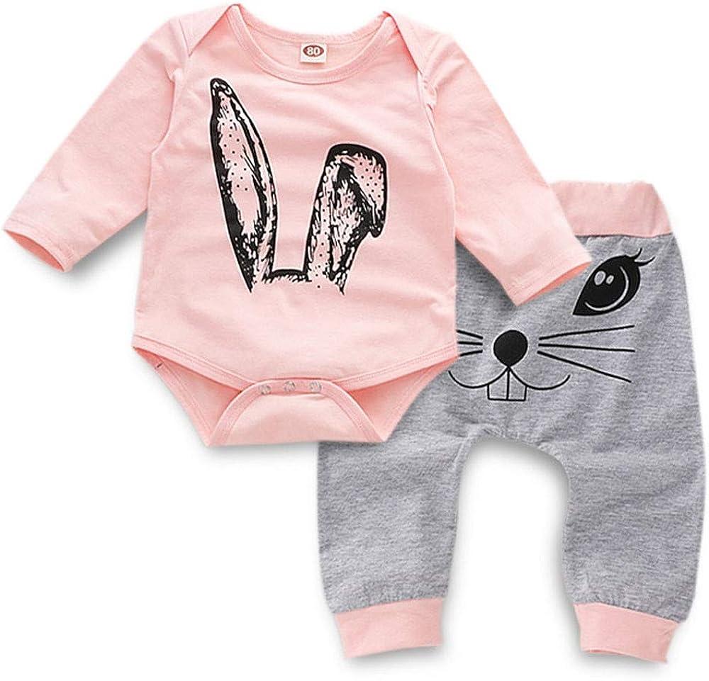 K-youth Ropa Bebé Niña Conjunto Niña Pantalon y Top Fiesta Bebé Niña Niños Mamelucos de Manga Larga de Conejo de impresión Elegante Otoño Ropa para Bebe Niña Recien Nacido