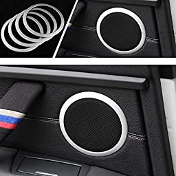 iJDMTOY (4) Aluminum Speaker Ring Cover Trims For 2012-up BMW F30 F31 3 Series 320i 328i 335i M3 4 Series 428i 435i, Silver