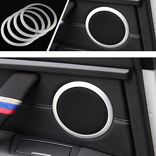 iJDMTOY (4) Aluminum Speaker Ring Cover Trims For 2012-up BMW F30 F31 3 Series 320i 328i 335i M3 F32 F33 4 Series 428i 435i, Silver - Speaker Trim Rings