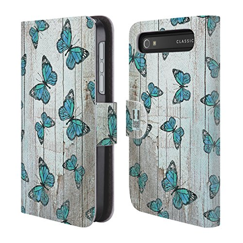 Head Case Designs Blue Country Charm Leather Book Wallet Case Cover for BlackBerry Classic Q20