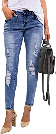 Womens Slim Fit Skinny Denims Ladies Pencil Straight Leg Jeans Stretchy Pants