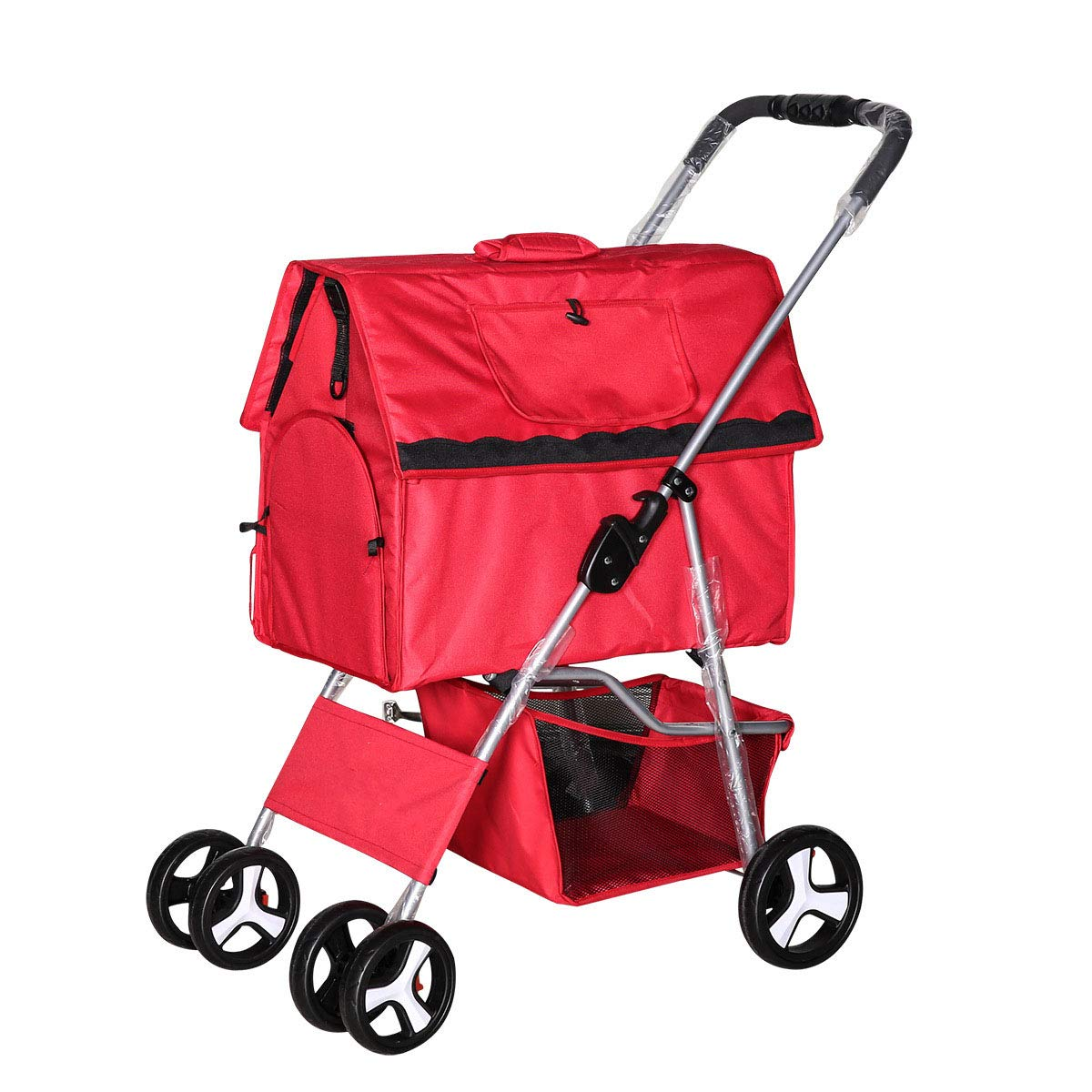 Pet Stroller Foldable Removable and Washable Split Dog Stroller Carrying Bag Teddy Kennel Pet House,Red